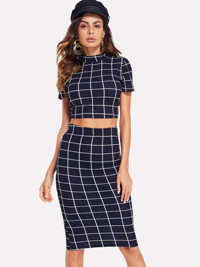 eefcd94be19 Cheap Mock Neck Grid Print Top   Skirt Set for sale Australia