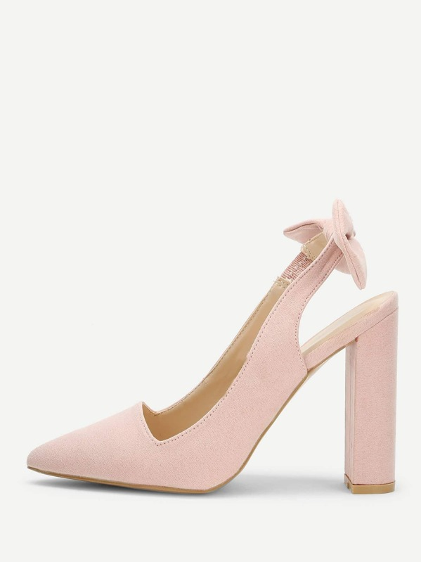 5c332eb9017 Bow Back Pointed Toe Pumps -SheIn(Sheinside)