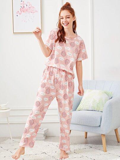 2ebefc28621d Hot Air Balloon Print Pajama Set