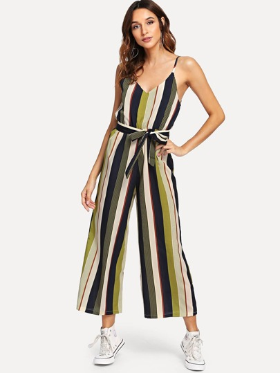 b8695d1f1d V Neckline Tie Side Striped Jumpsuit
