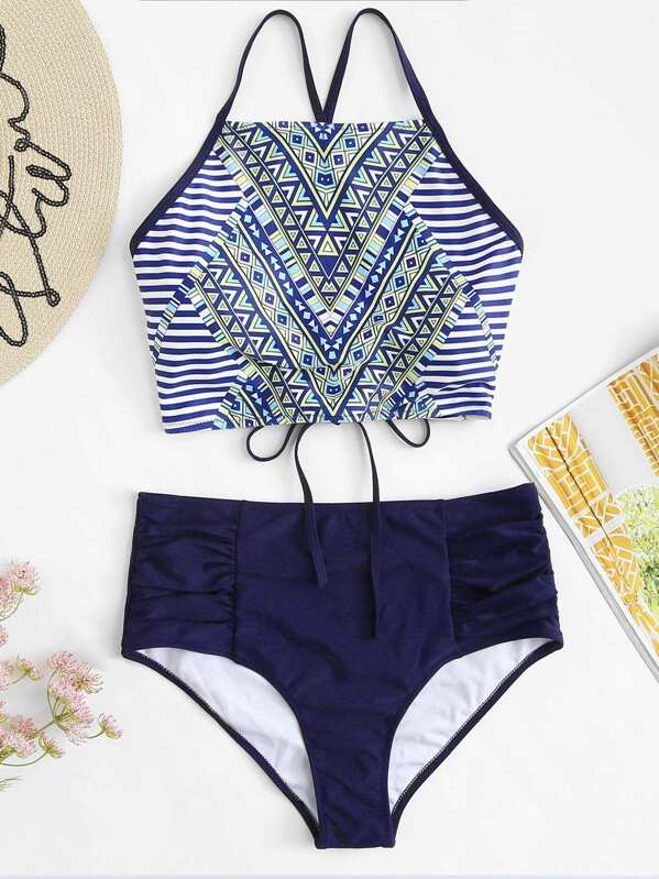 Tribal Print Lace Up Top With Ruched Bikini Set by Sheinside