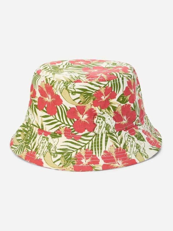 Cappello con secchiello con stampa floreale-Italian SheIn(Sheinside) e609334c9147