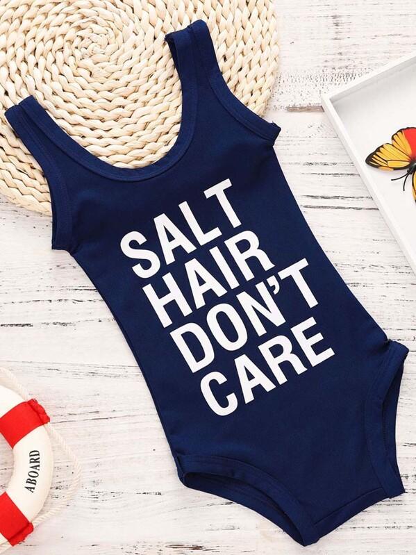 9eb4325816 Toddler Girls Letter Print Swimwear -SheIn(Sheinside)