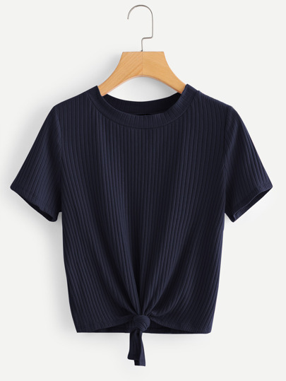 22f988c337 Knot Front Solid Ribbed Tee