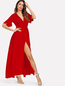 69929e8dc4 Bell Sleeve Buttoned V-Neck Wrap Dress