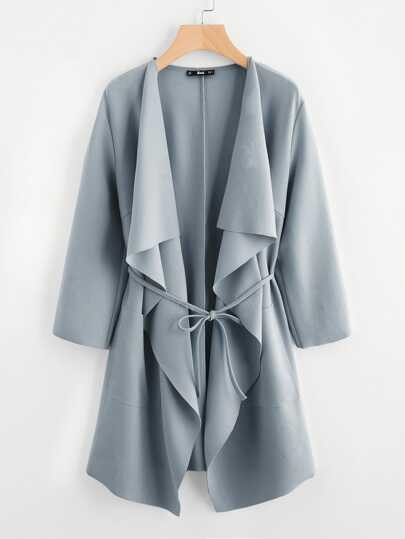 471636cc15a05 Waterfall Collar Pocket Front Wrap Coat
