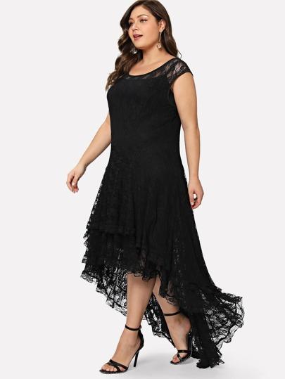 f0dd7306ef9 Plus Dip Hem Layered Floral Lace Dress
