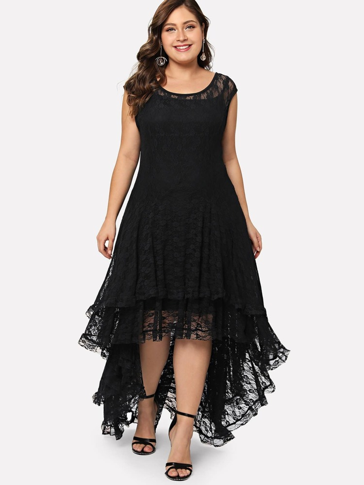 286b4417444 Plus Dip Hem Layered Floral Lace Dress