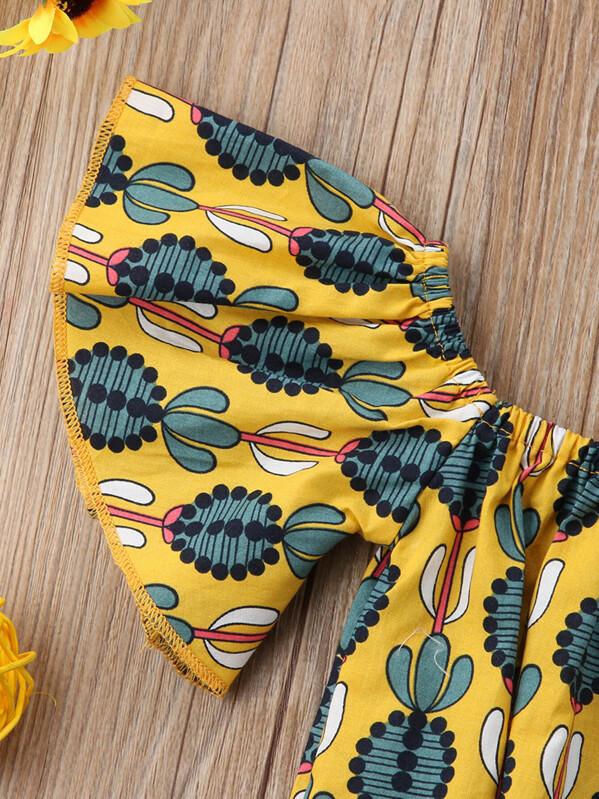 9e545d26283e Toddler Girls Cactus Print Romper With Headband -SHEIN(SHEINSIDE)