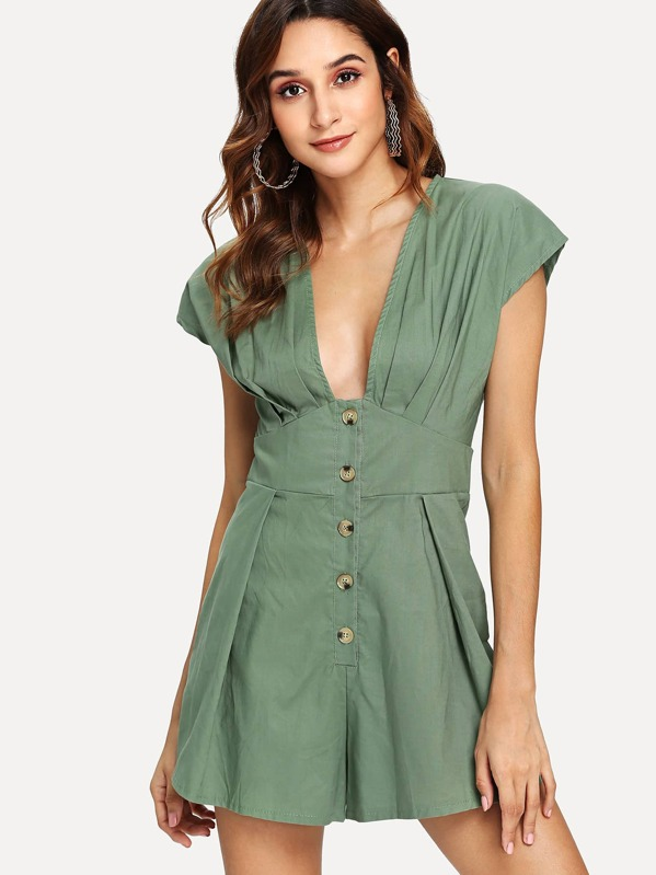 12f5cfcda1f Single Breasted Pleated Romper -SheIn(Sheinside)