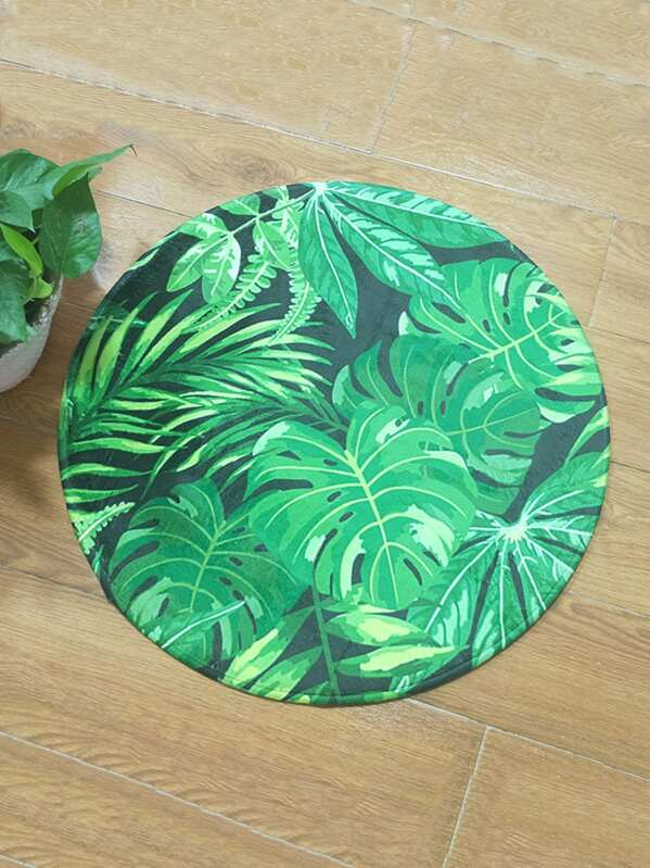 Tapis Rond Imprime Feuille Tropicale Shein