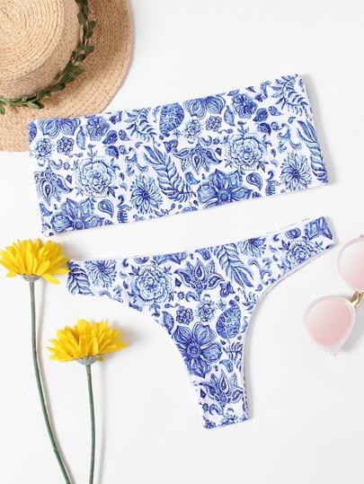 86882612 Set de bikini bandeau con estampado floral-Spanish SheIn(Sheinside)