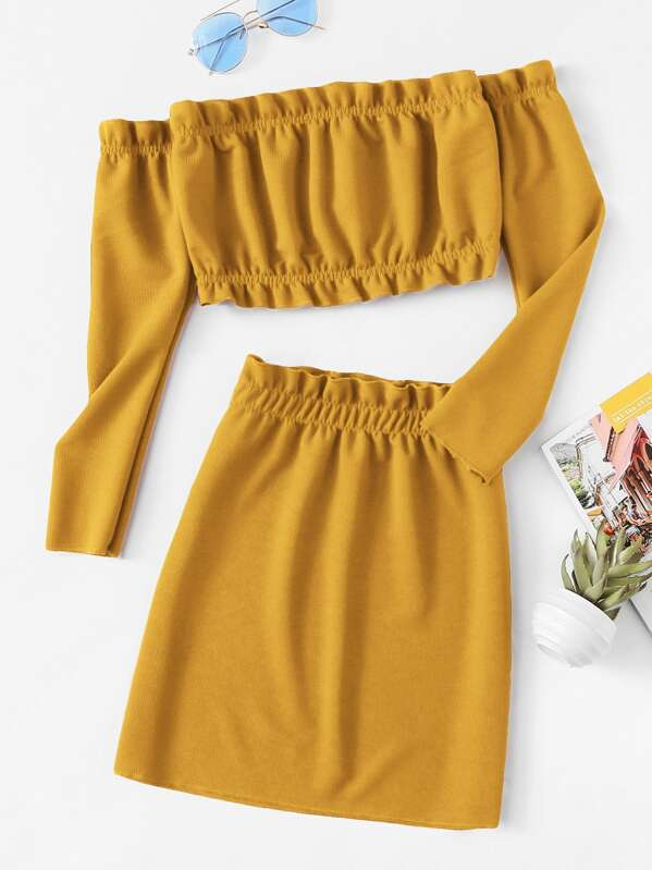 Frill Trim Knit Crop Top With Skirt by Sheinside