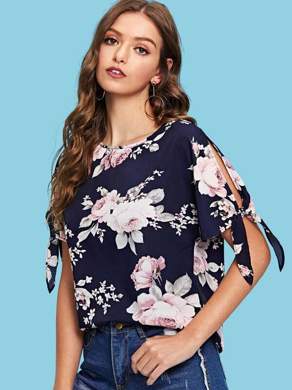 Split Knot Sleeve Floral Print Top by Shein