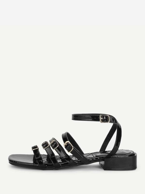 8e850d2175d05 Buckle Design Strappy Flat Sandals