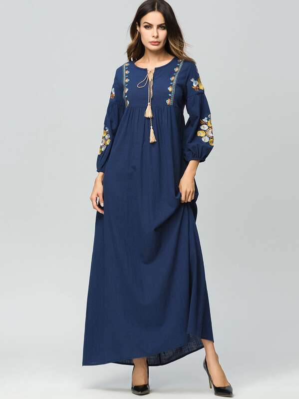 Flower Embroidered Tie Neck Longline Dress, Navy