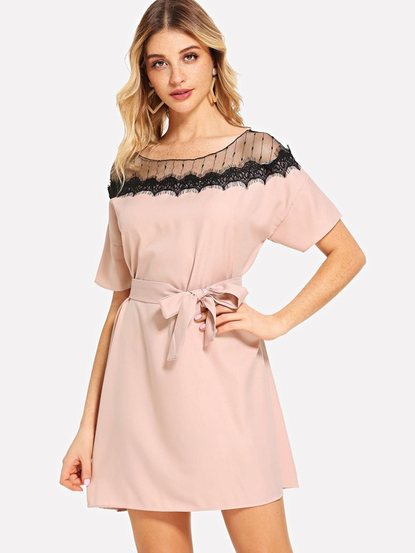 Lace Panel Self Tie Waist Dress by Sheinside