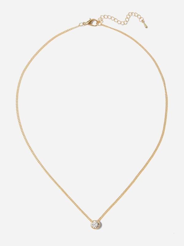 b4f408681f00 Rhinestone Pendant Chain Necklace -SheIn(Sheinside)
