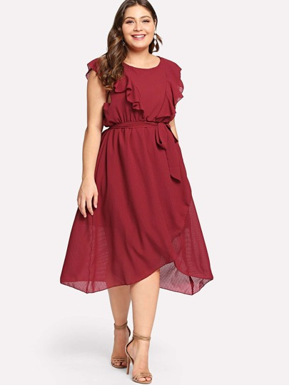 Plus Flounce Trim Asymmetrical Wrap Hem Belted Dress -SHEIN(SHEINSIDE) 42266df5f