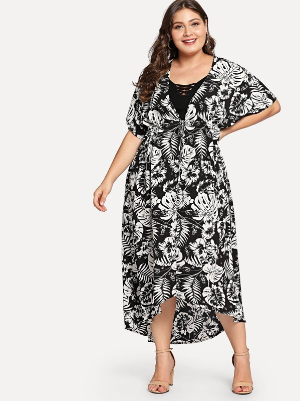 Plus V-Neck Tropical Dress