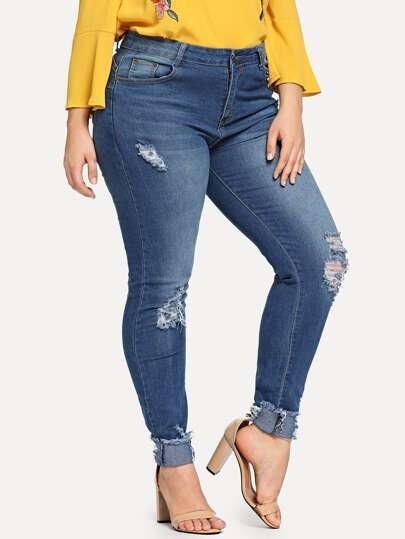 4f3b722cb0b Plus Skinny Ripped Jeans