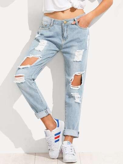 Distressed Boyfriend Jeans  c78e4795de