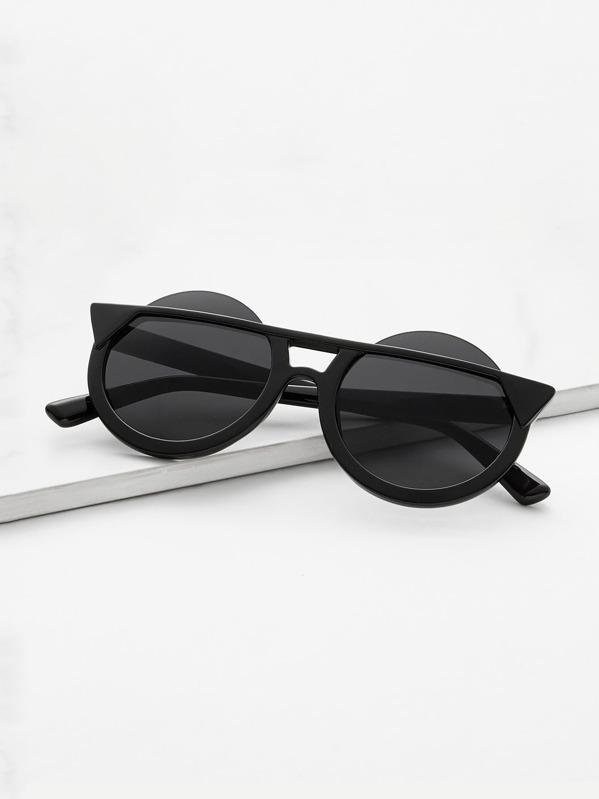 Lunettes de soleil monture noir verre rond noir -French SheIn(Sheinside) 0a97251df905