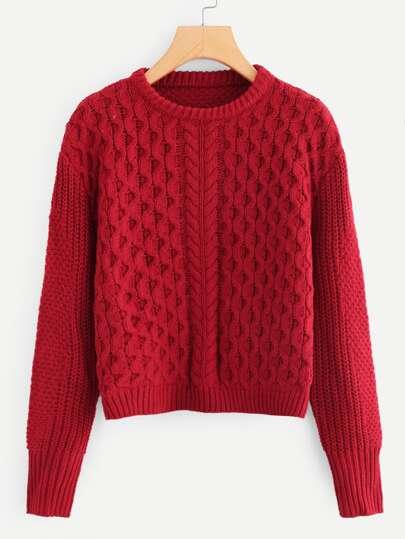fdbdda0dbe51 Mixed Knit Drop Shoulder Jumper