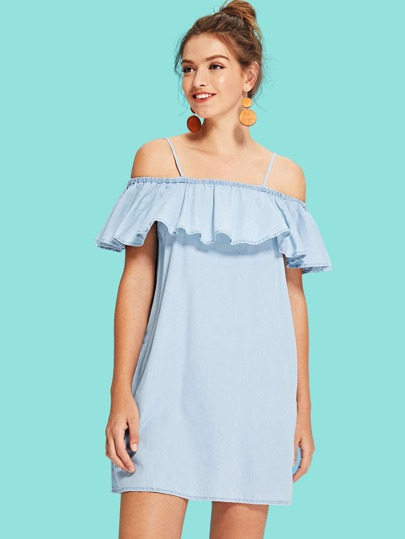 371e06b437 Cheap Ruffle Neckline Denim Cami Dress for sale Australia