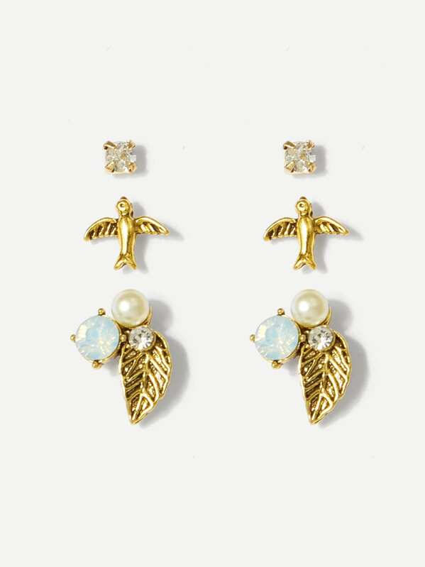 Bird & Leaf Stud Earrings 3pairs, Gold