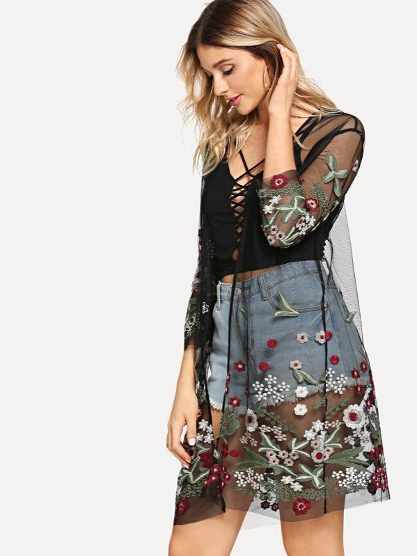 295152c78f0fe Kimono brodé botanique en tulle transparent -French SheIn(Sheinside)