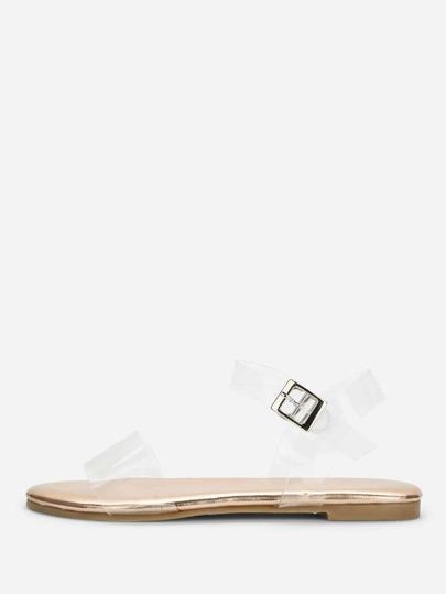 fcda96418a0632 Clear Strap Flat Sandals