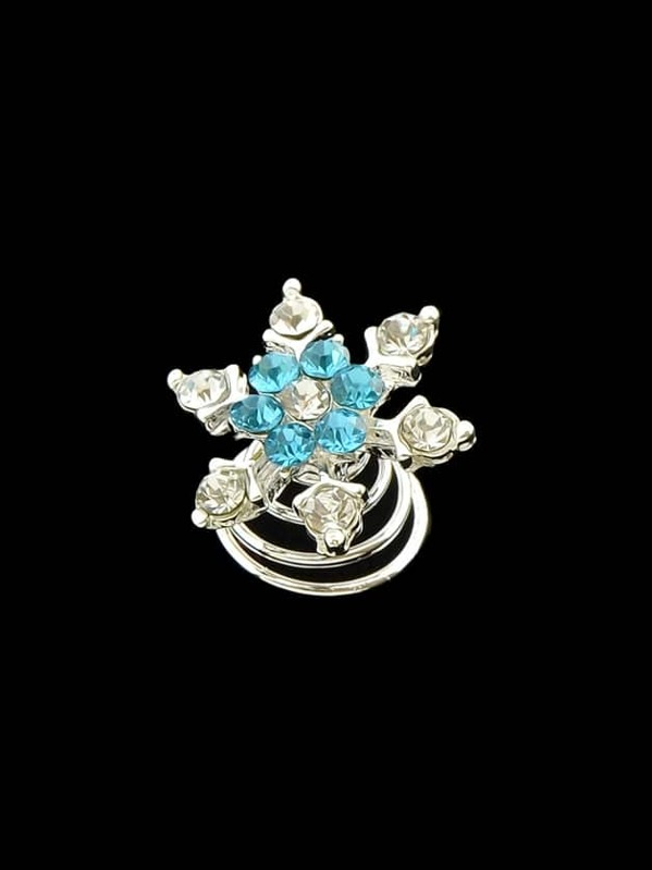 Blue Lovely Small Rhinestone Snowflake Hair Charms Claws -SheIn(Sheinside) a738ddde491f