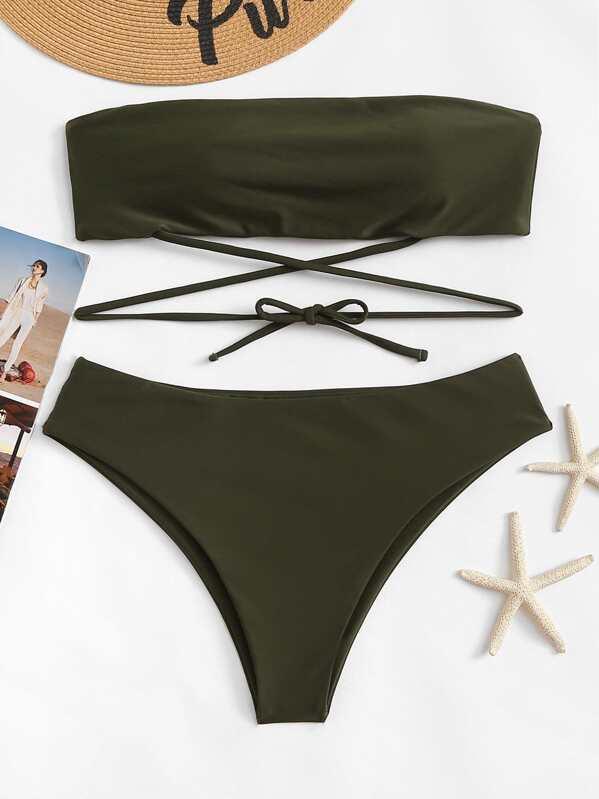 c4d5067eaa Plus Lace-up Bandeau With Panty Bikini Set -SHEIN(SHEINSIDE)