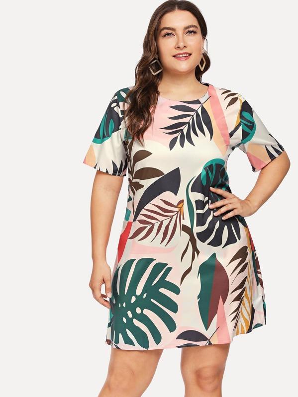 tienda muy baratas 2019 real Vestido con estampado de follaje de talla grande