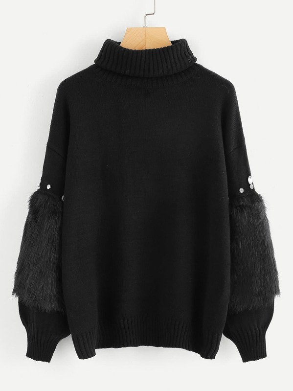 Rhinestone and Faux Fur Embellished Sweater, Black