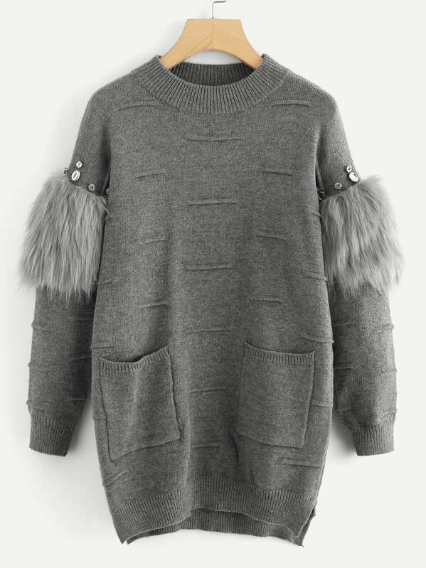 Rhinestone and Faux Fur Embellished Textured Sweater, Grey