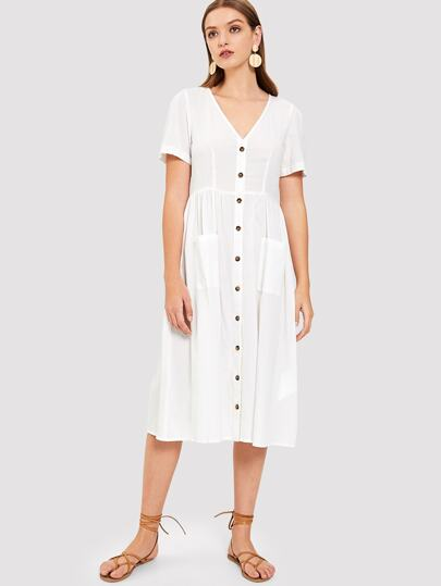 Pocket   Button Front V-Neck Plain Dress 8f4422a9cd16