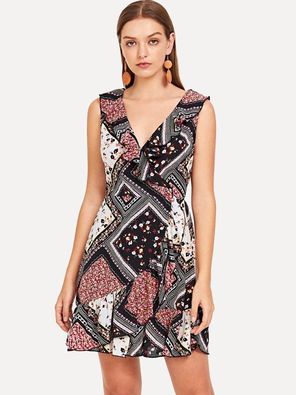 610de56993 Patchwork Print Fit   Flare Dress -SheIn(Sheinside)