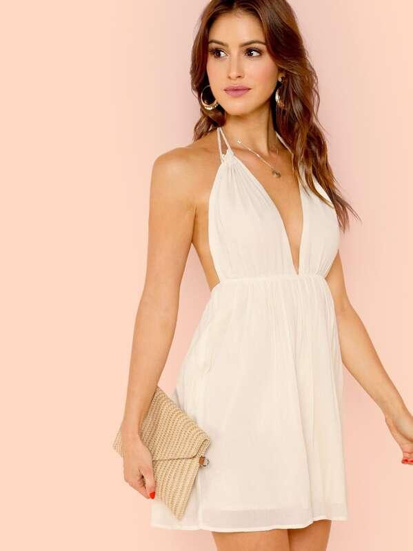 Open Back Plunging Halter Neck Pleated Dress -SheIn(Sheinside) 795d1f6fe