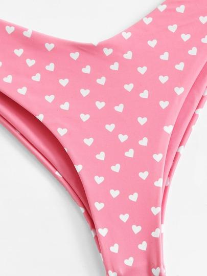 a7908348c2 Heart Print Triangle Top With High Leg Bikini -SheIn(Sheinside)