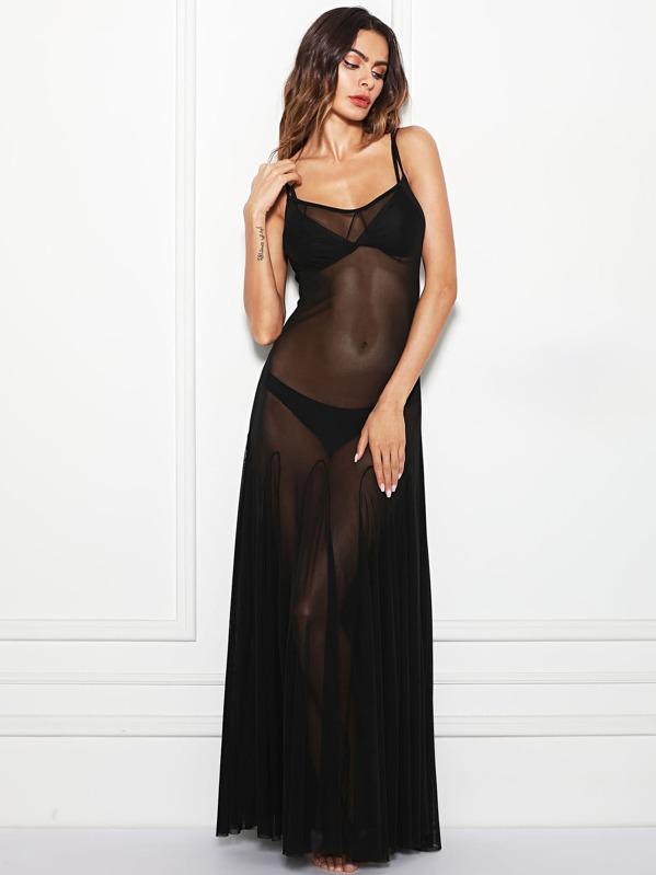 Mesh Sheer Cami Dress by Shein