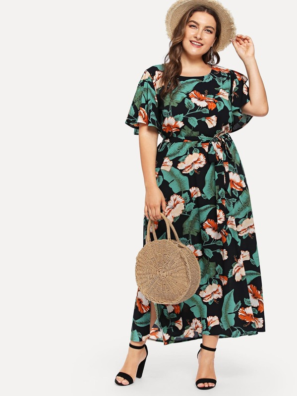 Plus Floral Print Split Belted Dress