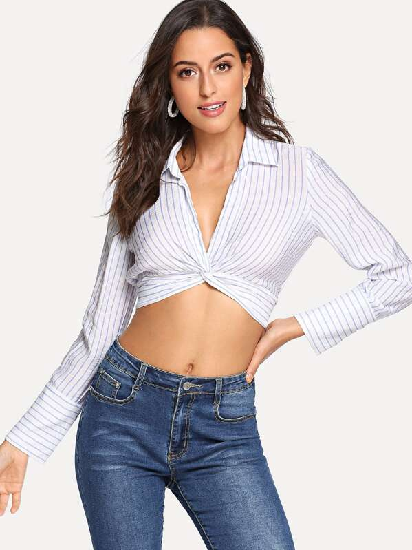 Twist Front Pinstripe Crop Top  44fd070abf4
