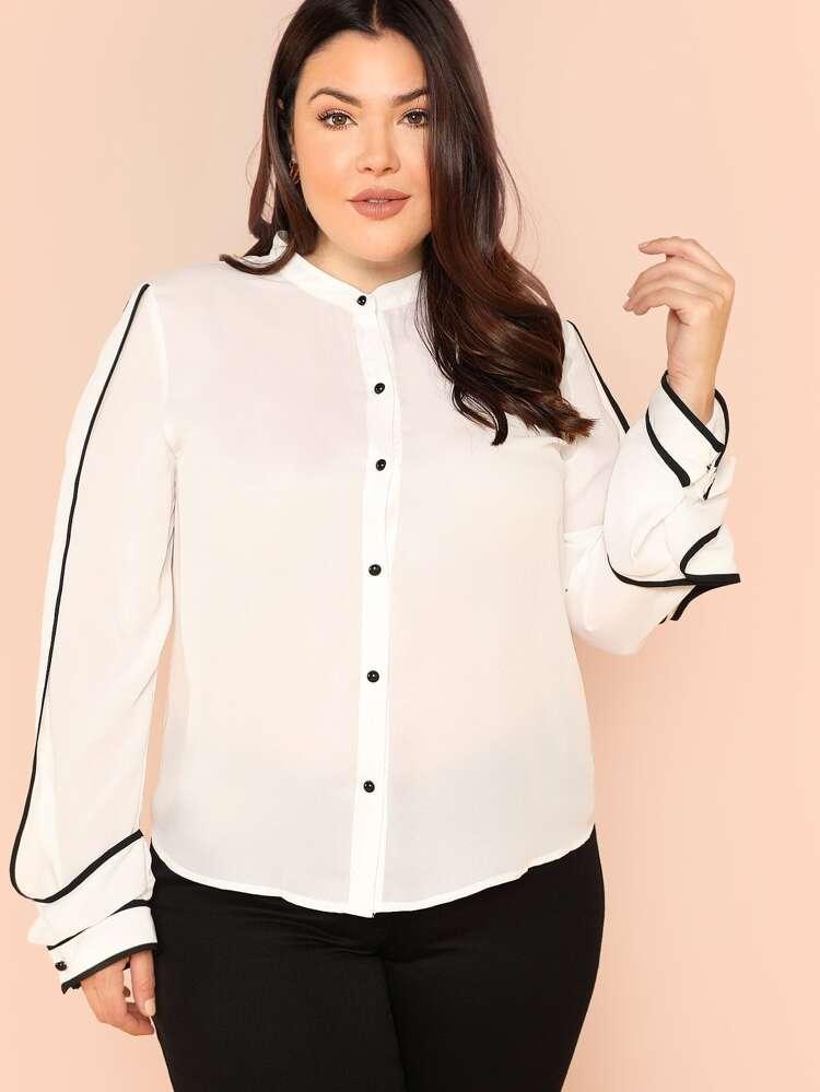 77e9bf6219f0 Plus Contrast Binding Button Up Shirt | SHEIN