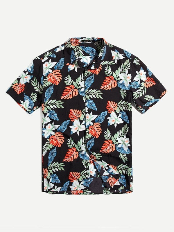 Men Button Up Tropical Print Top by Shein