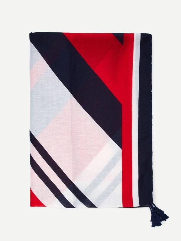 Tassel Detail Striped Scarf -SheIn(Sheinside) 6469f4176118d