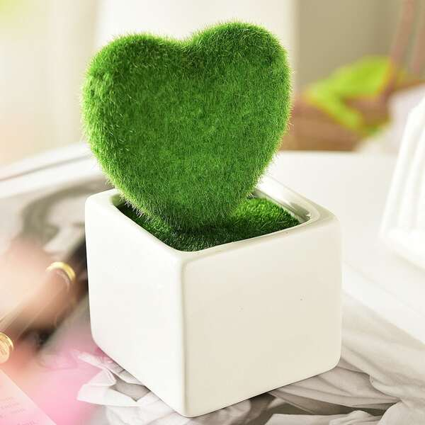 Fluffy Heart Shaped Artificial Potted Plant With Ceramic Pot
