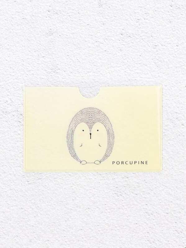 Hedgehog Printed Card Sleeve -SheIn(Sheinside) 6688012f1a75b
