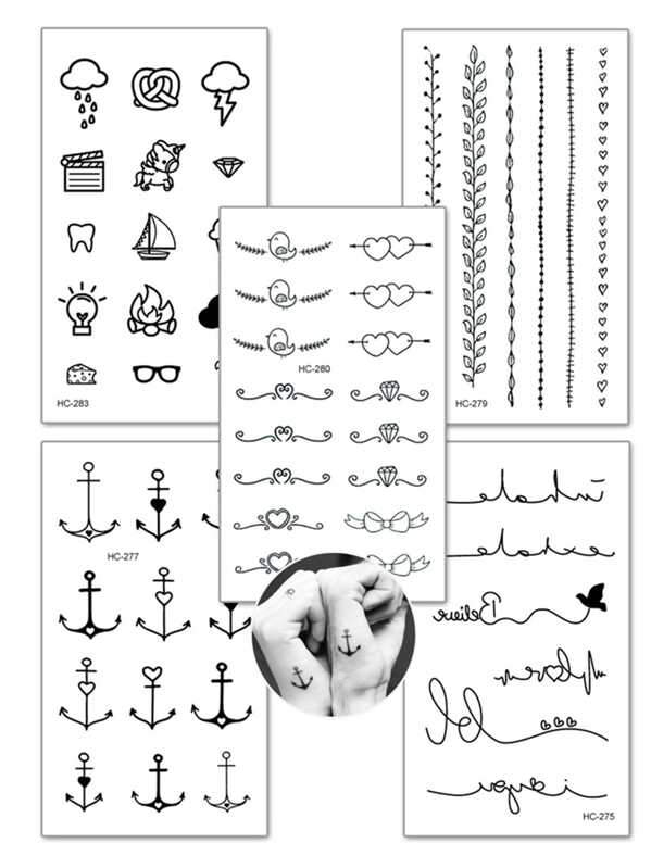 Anchor   Heart Detail Tattoo Sticker Set 5pcs -SheIn(Sheinside) a9ade279dd950